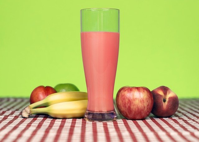 smoothie, jablko, banán, nektarinka